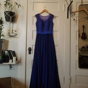 Blue Lace Evening Gown